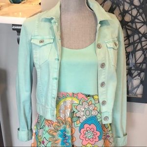 Bullhead Soft Green/Turquoise Denim Jacket sz L